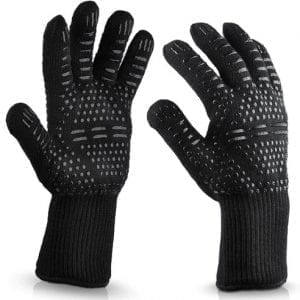 Heat resistant gloves to use when cooking on a Flare Outdoor Fire.
