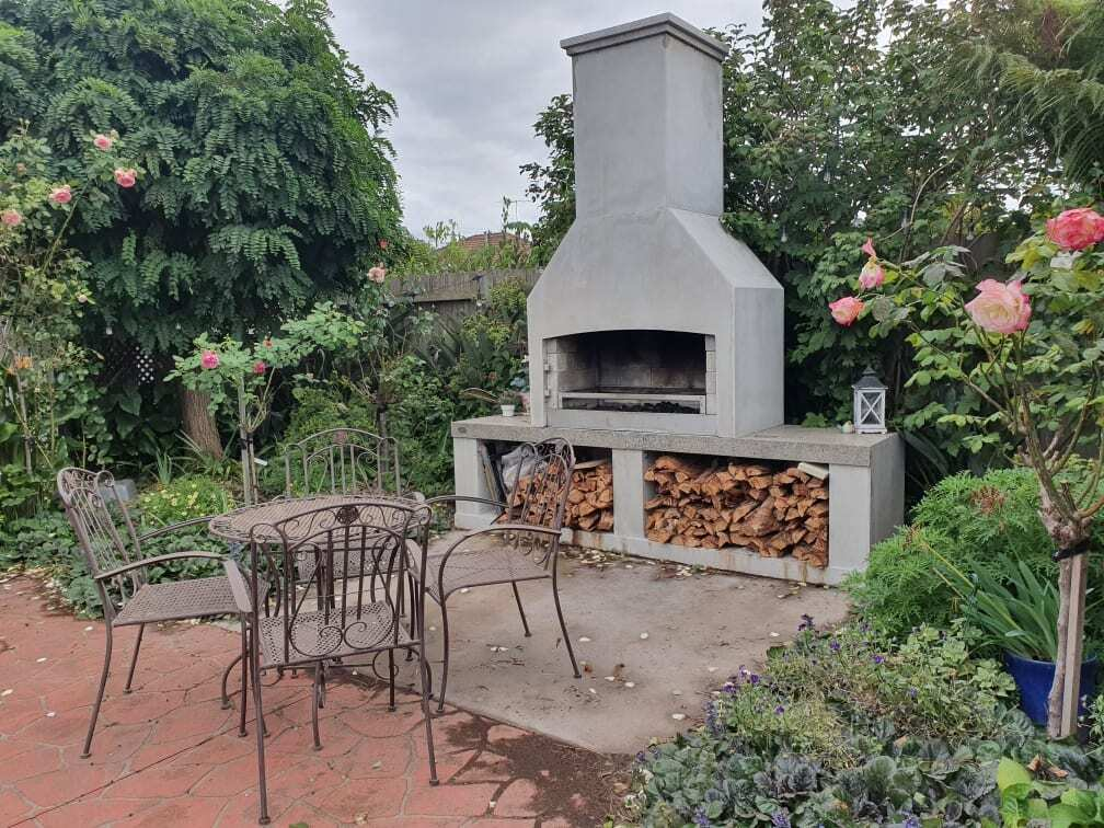A small garden spot to hangout near the Outdoor Fireplace