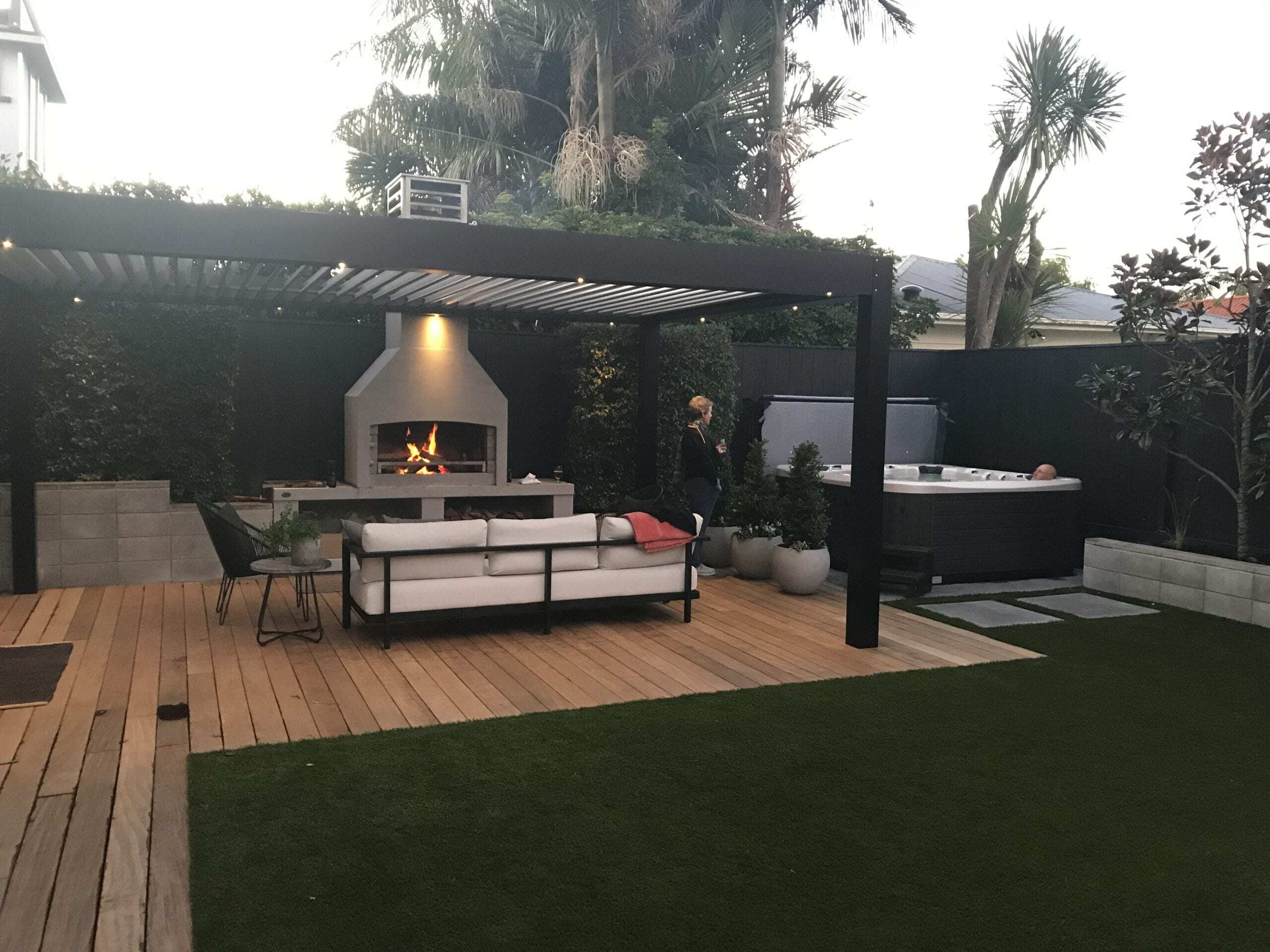 Contemporary style backyard space with a Flare Outdoor Fire