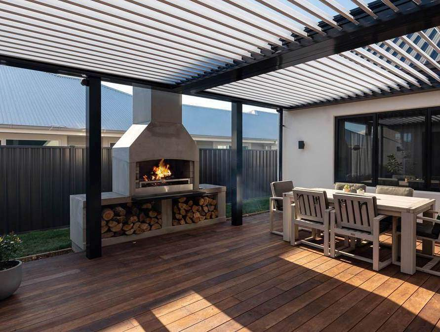An amazing outdoor space equipped with a Fireplace.