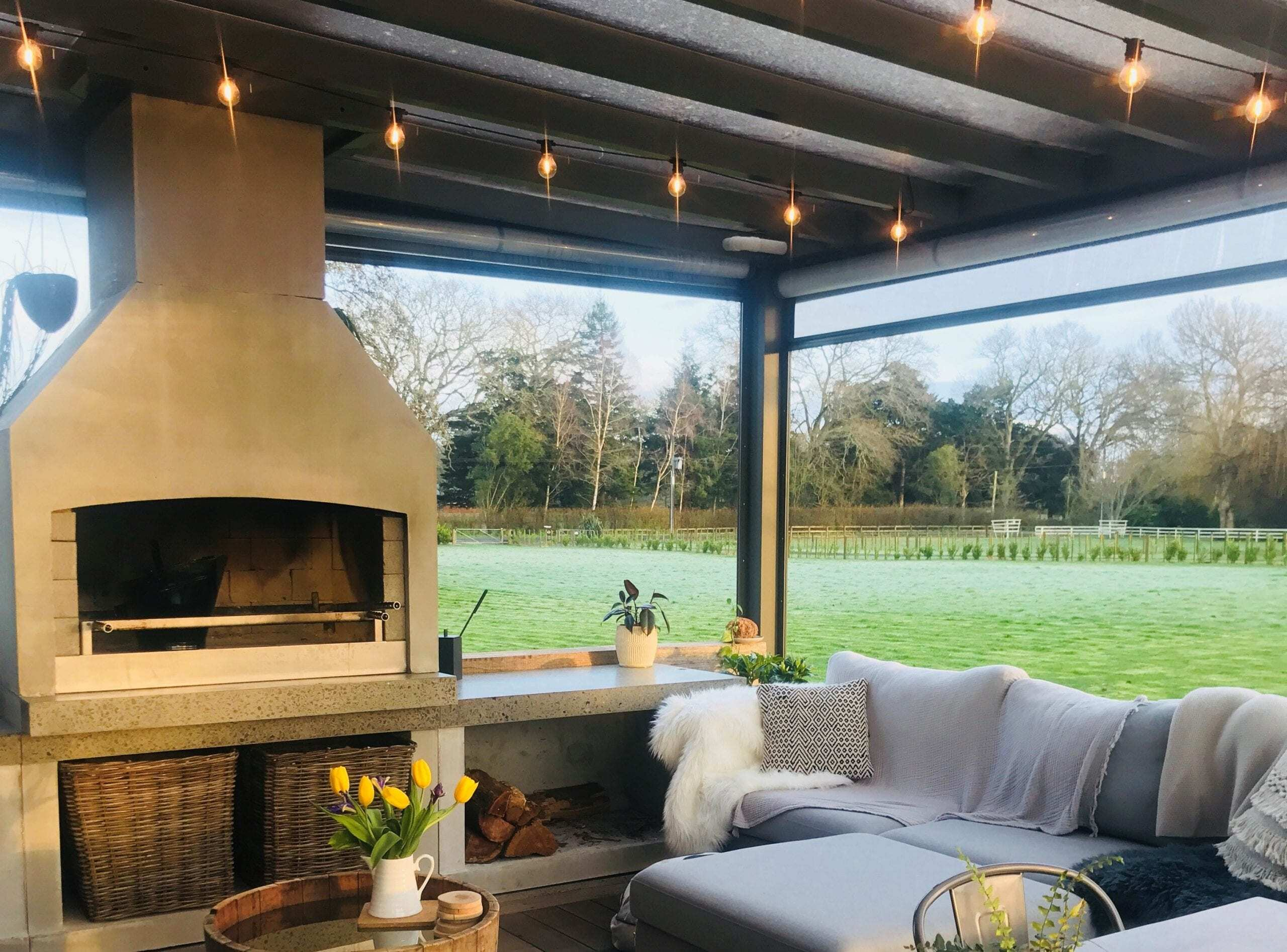 Beautiful outdoor space with a Flare Outdoor Fire.