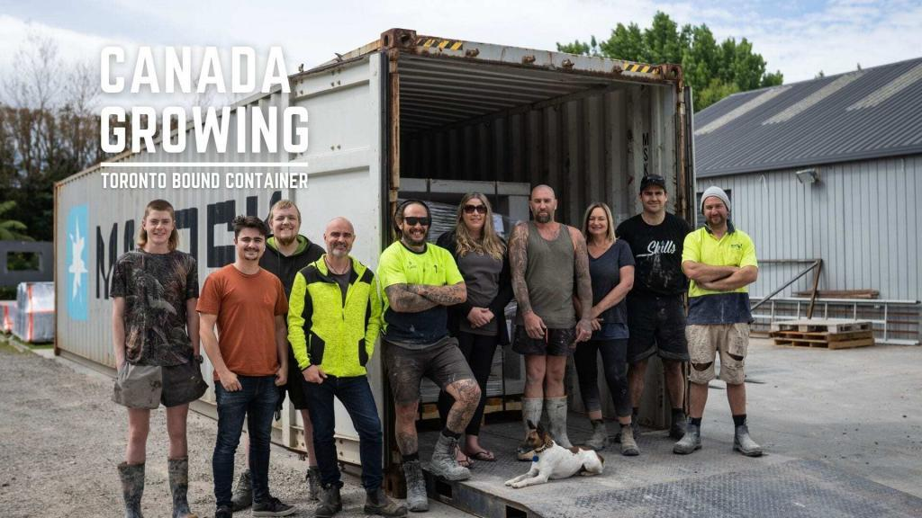 Flare Fires team in front of container with Outdoor Fires bound to Canada