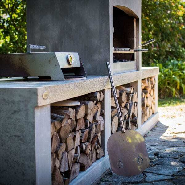 Amazing outdoor cooking area with a Flare Outdoor Fire
