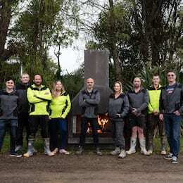 Flare Fires team with the Outdoor Fireplace.
