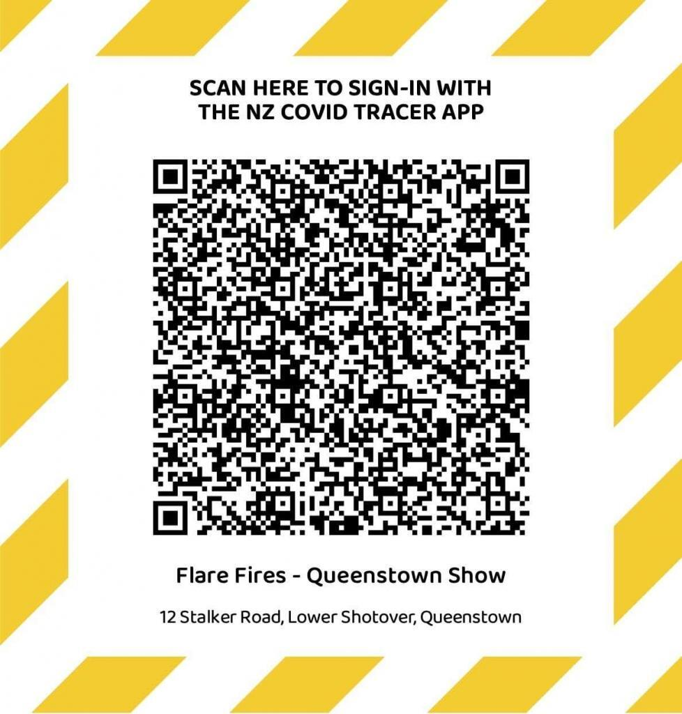 Scan to Sign In with the NZ Covid Tracer App - Flare Fires Queenstown Show